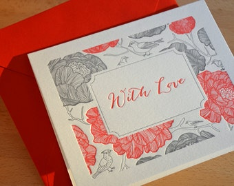 With Love Letterpress Card + Envelope - Birds Collection