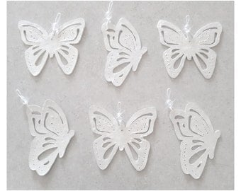 Cut and Pierced...Butterfly...Bling Charm Ornaments...Set of twelve 2 3/4 to 3 1/4""