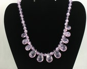Vintage AVON 'Soft Sophisticate' Amethyst Acrylic Necklace (1989). Focal Necklace. Vintage Avon Jewelry. Purple Avon Necklace