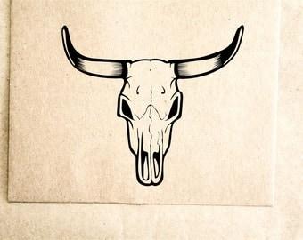 "Longhorn Cow Skull Rubber Stamp - 2""x2"""