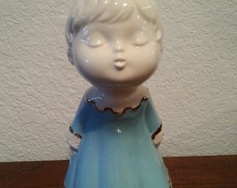 Ceramic Angel with Blue Dress