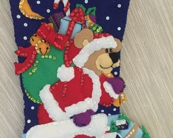 Santa Bear Down The Chimney Completed Handmade Felt Christmas Stocking from Dimensions Kit