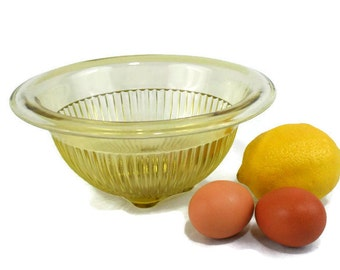 Vintage Yellow Ribbed Glass Mixing Bowl