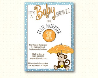 Baby Shower Invitation, Boy Baby Shower Invite, Monkey Baby Shower, Baby Sprinkle, Baby Sip n See, Baby Gender Reveal, B30752