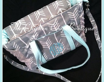 Diaper Bag Tribal Baby Arrows boys or girls Circle monogram lots of pockets