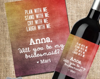 will you be my bridesmaid label, bridesmaid wine bottle label, wedding party favor, wedding party gift, bridesmaid photo, bridesmaid gift