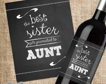 The Best Sister Gets Promoted to Aunt Wine Label, Pregnancy Announcement Wine Label, Announcing Pregnancy to Family, Custom Wine