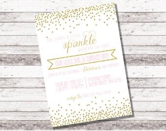 Pink and Gold Birthday Invitation | Party Invitation | 1st 2nd Any Age Birthday | Girl's Birthday | Glitter Birthday | Princess | Digital