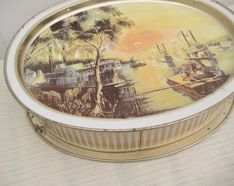 Vintage Sunshine Biscuits Tin Box, Steamboats on Mississippi River, American Collectible Tin Box, Currier and Ives, Home Decor, Serving Tray