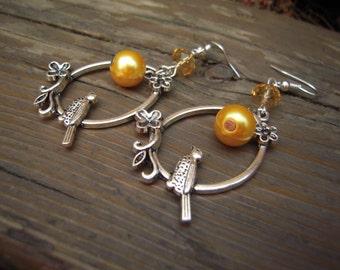 Spring bird earrings