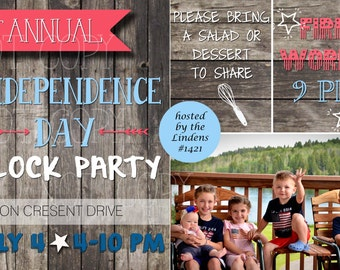 Independence Day Block Party Printable Invite - 4th of July, Labor Day BBQ - from the NORTH