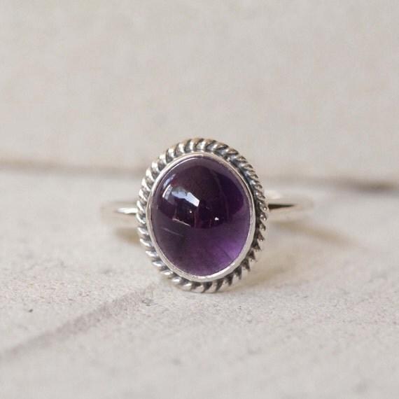 simple gemstone sterling silver ring amethyst rope bohemian