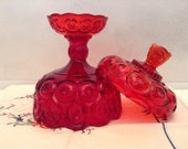 Glass Compote with Lid - Red Glass - L. A. Smith Glass Co. Red Wedding Decor