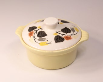 Vintage Mid-Century Butter Yellow Covered Dish with Floral Pattern Made In USA Pottery Ceramic