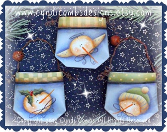 CC136 - Mini Snow Pocket Ornaments - Painting E Pattern by Cyndi Combs