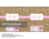 Baby Shower Gold Glitter - Candy Bar Wrapper File - DIY Print Your Own - Soft Pink