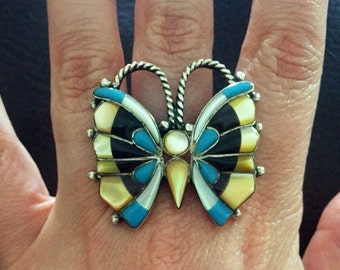 Huge Very Fine Vintage Sterling Silver Navajo Butterfly Ring Size 7 Turquoise Onyx & MOP Inlay