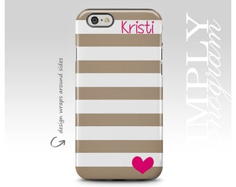 iPhone 7 Case, iPhone 6 Case, iPhone 6 Plus Case, Samsung Galaxy Case, Galaxy S8 Case, iPhone 7 Plus Case, Stripes, Pink Heart, Personalized