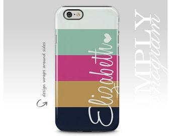 iPhone X Case, iPhone 8 Case, iPhone 7 Case, Navy Gold Pink Mint Stripes, iPhone 7 Plus Case, Monogram, Galaxy S8 Plus Case, Galaxy S8