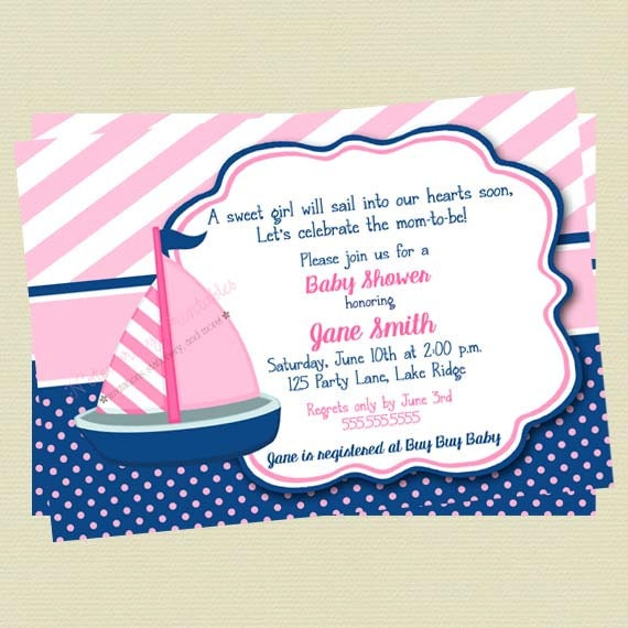 Sailboat baby shower invitations nautical baby girl shower invites il570xn filmwisefo Images