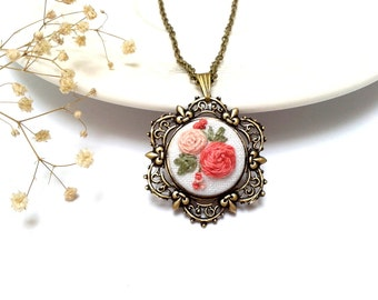 Hand embroidered ,Floral necklace, coral pink roses.