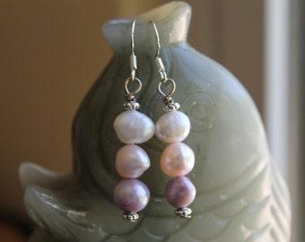 Three Color Freshwater Pearl Earrings, sterling silver hook