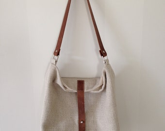 Slouch Bag With Brown Leather Handle