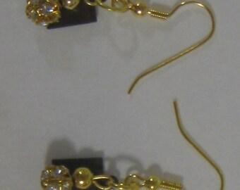 Gold Sparkle Bead Earrings