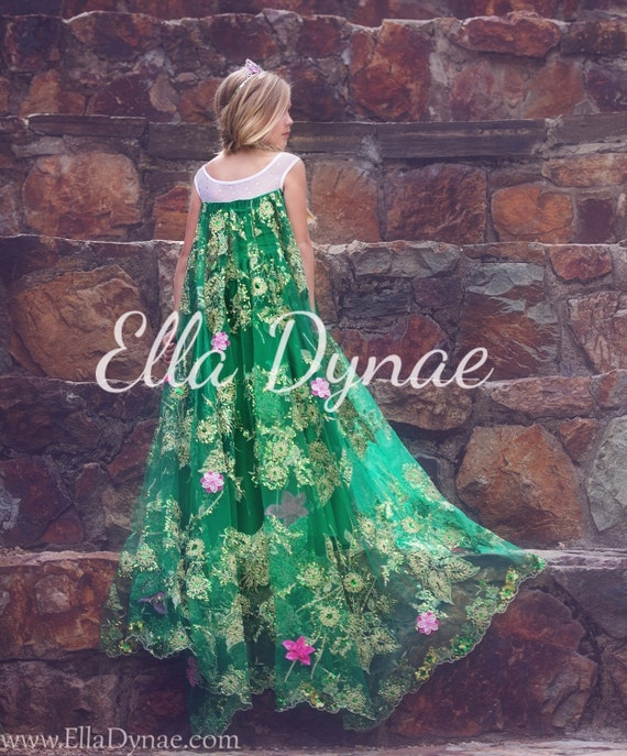 LIMITED EDITION Frozen Fever Green Elsa Spring Dress By