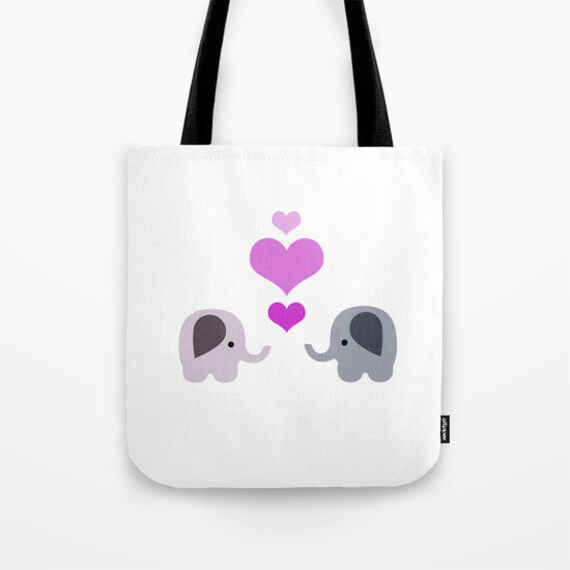 elephant tote bag book bag grocery bag bag