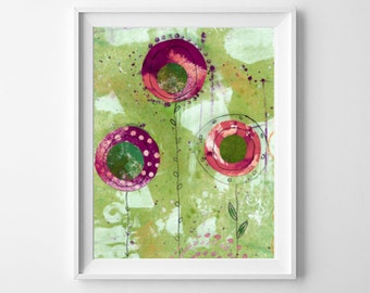 Flower Art Print, Abstract Floral Art, Collage Flowers Print