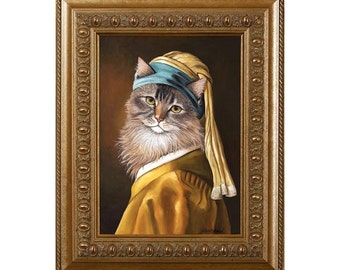 Cat Fridge Magnets, Cat With A Pearl Earring, Large Fridge Magnet, Cat Decor