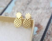 Gold Tiny Pineapple Earrings, Small Pineapple Studs Earrings, Pineapple Post Earrings, Gift for Best Friends