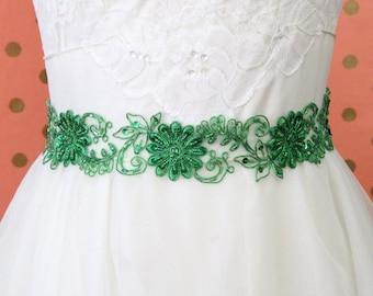Kelly Green Beaded Lace Sash, Bridal Green Sash, Bridesmaid Green Sash, Flower Girl GreenSash
