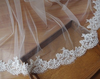 ivory lace trim for bridal veil, eyelash lace trim
