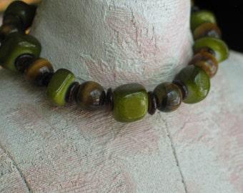 Green Bracelet, Brown Bracelet, Green Brown, Catseye Bracelet, Stone Bracelet, Awesome Green Brown Catseye Stone Bracelet