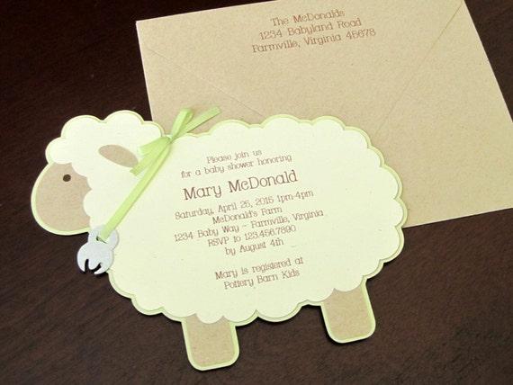 vintage lamb gender neutral baby shower invitation