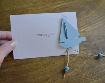 Sailboat thank you card - baby boy baby shower, baptism thank you card- paper boat card, handcut card, greeting card
