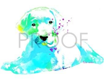 Tropical Colored Labrador Puppy || Delta the Lab Pup || Dog Art || Watercolor || Art Print