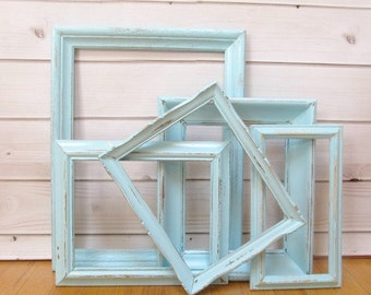 Large Picture Frame Set Old wood Blue vintage Nautical frames open back Wedding portrait ornate gallery wall Baby nursery Photo Prop
