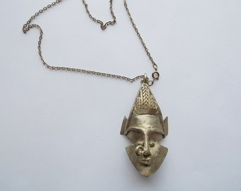SALE Vintage Mask Necklace African Brass Face Pendant Wearing Nose Ring Tribal Bohemian Jewelry