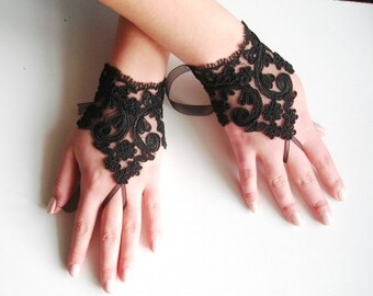 Black Fingerless Gloves, Black Wedding gloves, Short Fingerless Lace gloves Damlace