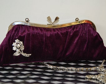 Vintage Burgandy gathered Clutch Bag