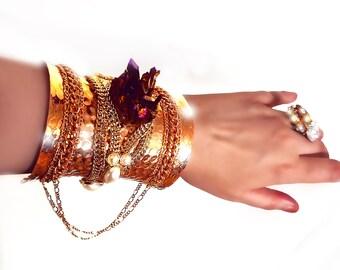 Bohemian cuff bracelet, Gypsy style cuff, titanium quartz, Quartz cuff bracelet, quartz cluster, Chain cuff, wearable armor, OOAK