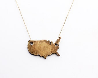 States of Love USA handcrafted Bronze necklace