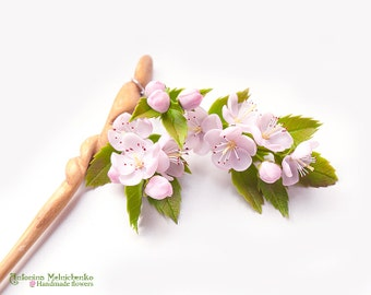 Hair Stick Cherry Blossom - Polymer Clay Flowers