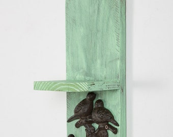 Small Shelf with Bird Hooks from Reclaimed Wood