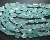 10 Inches Strand,Finest Quality Natural Aquamarine Faceted Nuggets,12-16mm Large