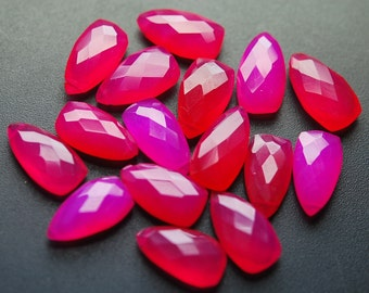 5 Matched Pairs,Pink Chalcedony Faceted Pyramid Shaped Briolettes,8x15mm