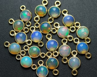 925 Sterling Vermeil Silver, Ethiopian Opal Round Connector,4 Piece of 13mm
